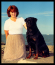 Cooper with Breeder-Handler Ms. Holley Eldred of Rottihaus Rottweilers