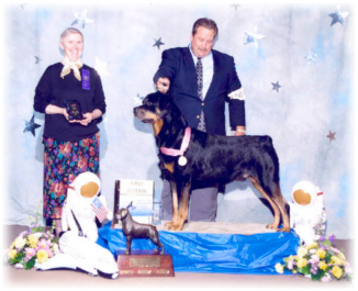 Champion Von Baker's Hop On A Bus Gus, Multi-Best of Breed, MRC Specialty '96 Winners Dog, '98 Stud Dog Winner & '01 Veterans Winner