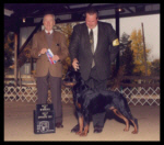 Best of Opposite Sex, Best of Winners, Winners Dog, Battle Creek K.C. on Oct. 21, 2001, handled by Rodger Freeman