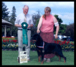 "CKC - Award of Merit (2nd yr. in a row) Sovereign Rottweiler Club of Ontario in July 10, 2004, Breeder-judge Mr. Brian Hindley (U.K.) ""Yorland Rottweilers"", handled by Pat Turner"