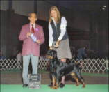 """Maddie"" and handler Norma Smith taking Winners Bitch (major) at the Marion K.C. on 11-4-06 under Judge Mr. David Chan"