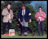 Tory at the 2001 CRC taking 1st Place in Sweepstakes from the 6-9 month puppy class on May 7th, 2001, handled by Mr. Rodger Freeman