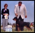 Tory at the Medina K. C. Rottweiler Specialty taking Best in Sweepstakes on July 21, 2001, handled by Mr. Rodger Freeman